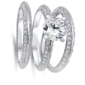 2 Carat Knife Edge Cubic Zirconia 3 Band Bridal Wedding Set