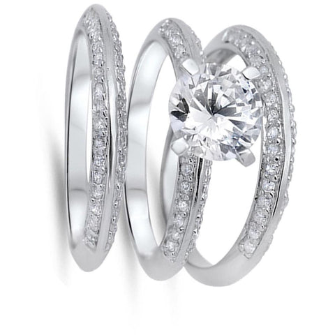 Image of Rings $61.58 2 Carat Knife Edge Cubic Zirconia 3 Band Bridal Wedding Set 2-carat 2mm Bridal Sets clear cz