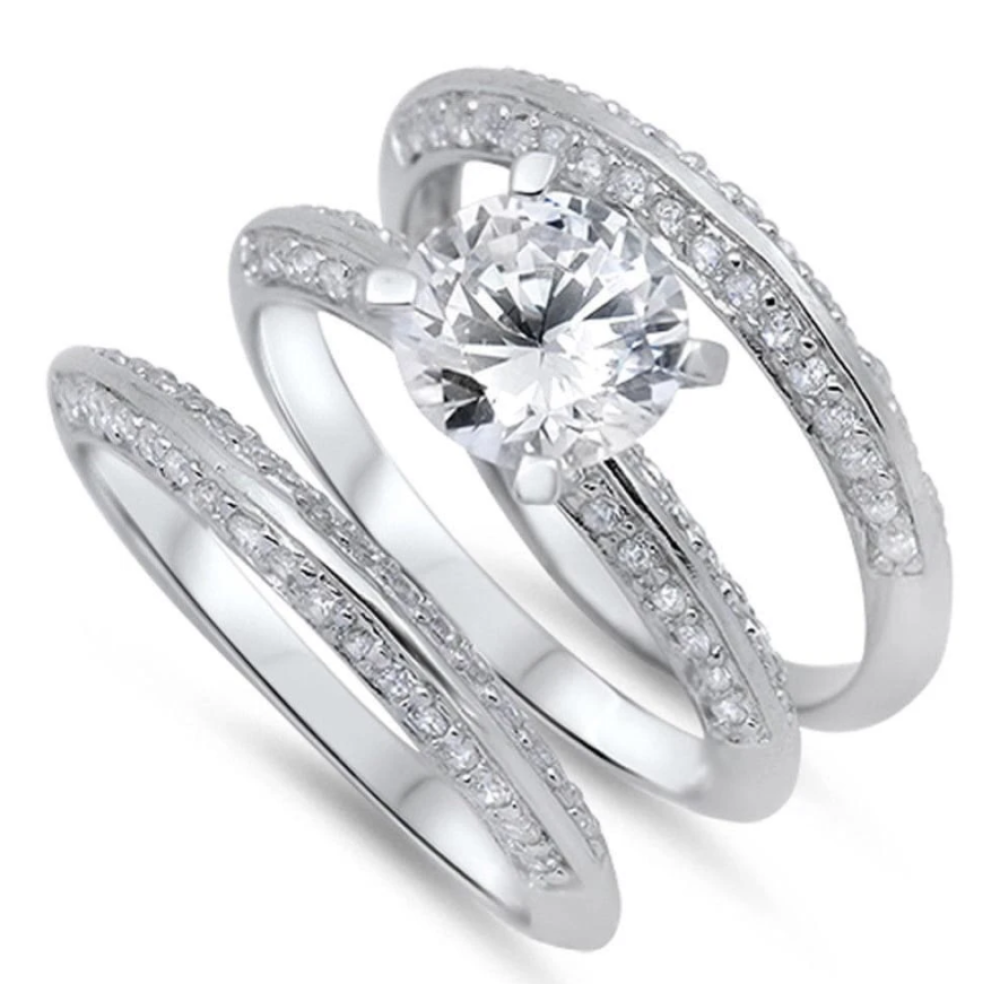 Rings $61.58 2 Carat Knife Edge Cubic Zirconia 3 Band Bridal Wedding Set 2-carat 2mm 50-100 badge-toprated Bridal Sets