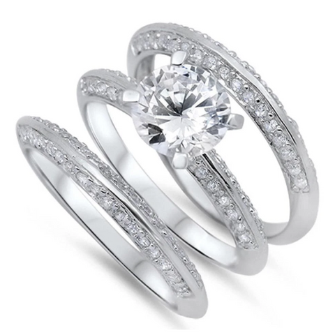 Image of Rings $61.58 2 Carat Knife Edge Cubic Zirconia 3 Band Bridal Wedding Set 2-carat 2mm 50-100 badge-toprated Bridal Sets