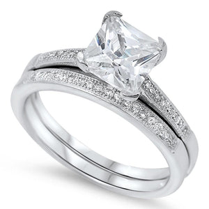 2 Carat Princess Cut Solitaire on CZ Band Matching Engagement Bridal Ring Set