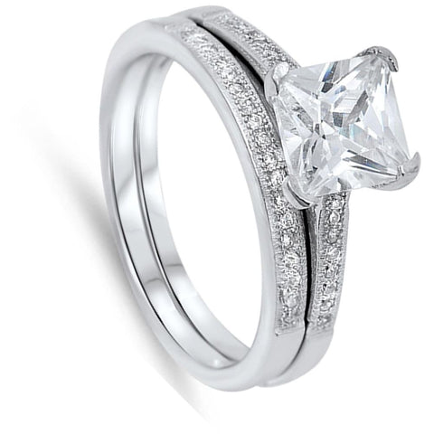 Rings $35.58 2 Carat Princess Cut Solitaire on CZ Band Matching Engagement Bridal Ring Set 2-carat 2mm Bridal Sets cz er