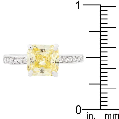 Image of Rings $31.35 2 Carat Princess Cut Yellow Square Solitaire Belle Engagement Ring JGI 2 carat cz er premium princess