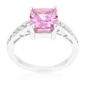 2 Carat Princess Square Cut Pink Aurora Engagement Silver Ring JGI