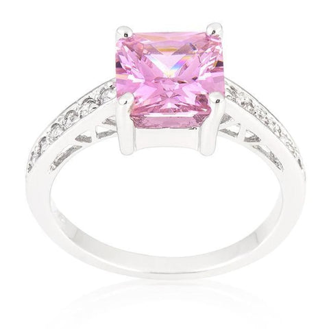 Image of Rings $41.10 2 Carat Princess Square Cut Pink Aurora Engagement Silver Ring JGI 2 carat cz er pink premium