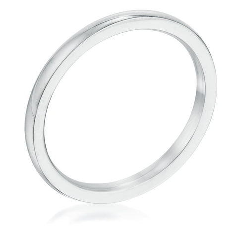 Rings $16.40 2mm Stainless Steel Plain Wedding Band JGI 2mm band mens plain rhodium