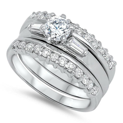 Image of Rings $51.98 3 Band Set Tapered Baguettes Round CZ Center 50-100 Bridal Sets clear cubic-zirconia cz
