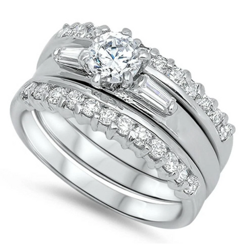 Image of Rings $51.98 3 Band Set Tapered Baguettes Round CZ Center 50-100 badge-toprated Bridal Sets clear cubic-zirconia