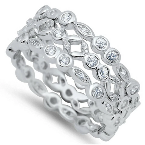 Image of Rings $63.78 3 Bezel Eternity Bands to Wear Individually or Stacked 3mm 50-100 badge-toprated band bezel