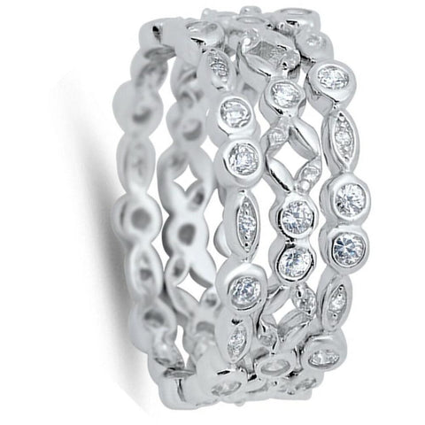 Image of Rings $63.78 3 Bezel Eternity Bands to Wear Individually or Stacked 3mm band bezel cz eternity