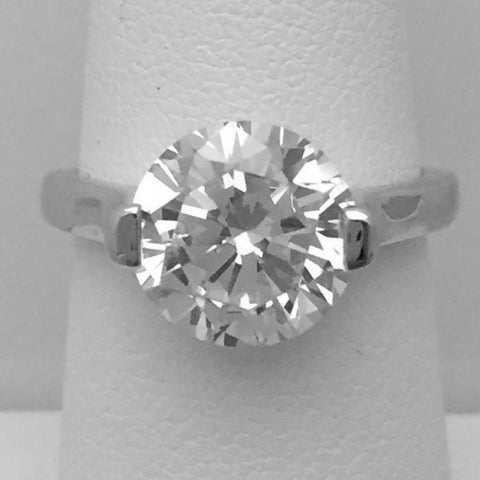 Image of Rings $48.00 3 Carat 10Mm 2 Prong Cubic Zirconia Solitaire Engagement Ring (Low Setting Profile) By Cz Sparkle Jewelry® Best Seller
