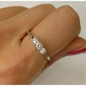 Rings $899.99 3 Diamond Ring 14K White Gold Diamond Band - Past Present Future Wedding Ring 3 Stone Band Rg Yg