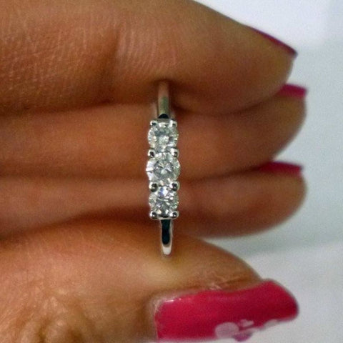 Image of Rings $899.99 3 Diamond Ring 14K White Gold Diamond Band - Past Present Future Wedding Ring 3 Stone Band Rg Yg