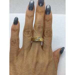 3 Diamond Yellow Gold Statement Ring 14k