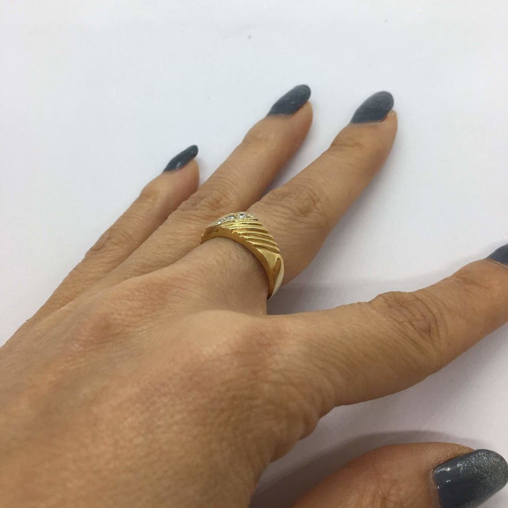 Rings $399.99 3 Diamond Yellow Gold Statement Ring 14K