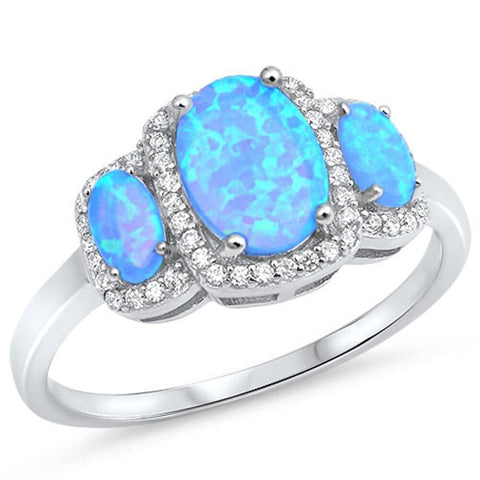 Image of Rings $37.36 3 Oval Cut Blue Lab Opals with Clear Cubic Zirconia Halo in Sterling Silver Band blue clear cubic-zirconia cz halo
