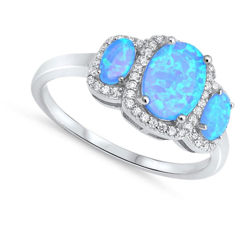 Rings $37.36 3 Oval Cut Blue Lab Opals with Clear Cubic Zirconia Halo in Sterling Silver Band blue clear cubic-zirconia cz halo