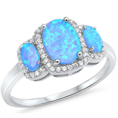Image of Rings $37.36 3 Oval Cut Blue Lab Opals with Clear Cubic Zirconia Halo in Sterling Silver Band 25-50 badge-toprated blue clear cubic-zirconia