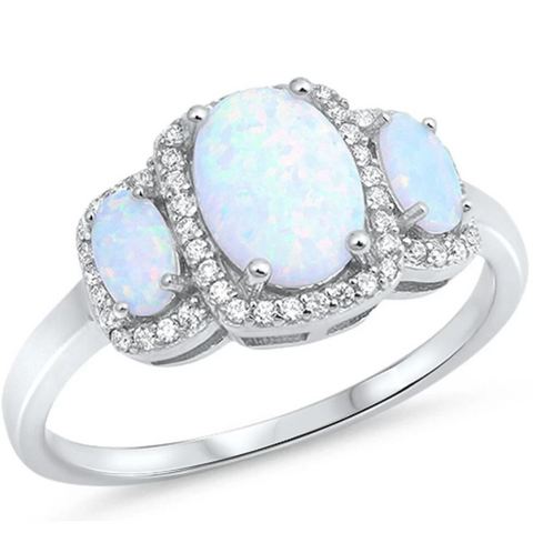 Image of Rings $37.36 3 Oval White Lab Opals with Clear Cubic Zirconia Halos in Sterling Silver Band 25-50 badge-toprated cubic-zirconia cz er