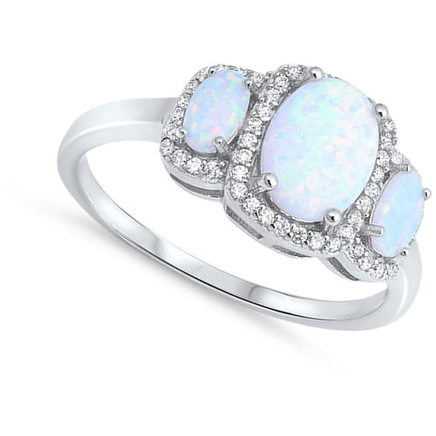 Image of Rings $37.36 3 Oval White Lab Opals with Clear Cubic Zirconia Halos in Sterling Silver Band cubic-zirconia cz halo opal white
