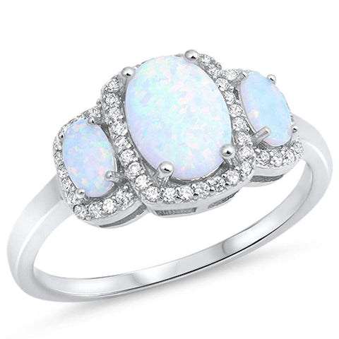 Rings $37.36 3 Oval White Lab Opals with Clear Cubic Zirconia Halos in Sterling Silver Band cubic-zirconia cz halo opal white