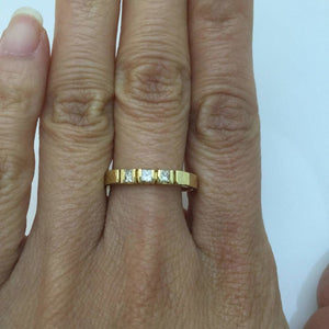 3 Princess Cut Diamond Band 14K Yellow Gold Ring for Stacking or Wedding