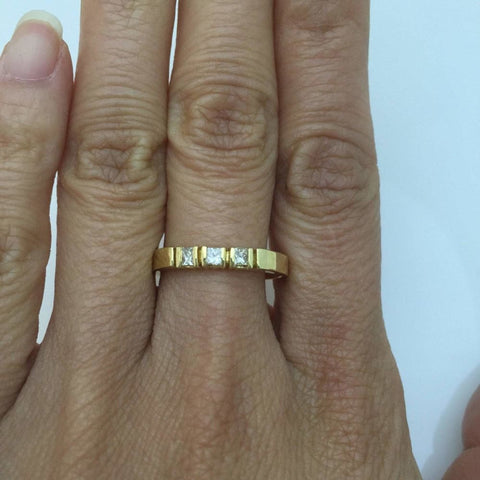 Rings $299.99 3 Princess Cut Diamond Band 14K Yellow Gold Ring For Stacking Or Wedding Band Princess Yg