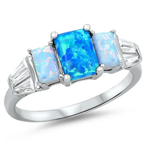Rings $31.48 3 Rectangle Blue Lab Opals with 2 Clear CZ Stone Accents in Sterling Silver Band 25-50 badge-toprated blue clear cubic-zirconia