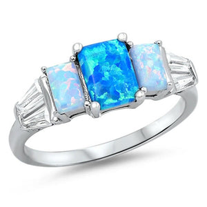 3 Rectangle Blue Lab Opals with 2 Clear CZ Stone Accents in Sterling Silver Band