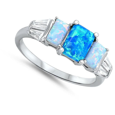 Rings $31.48 3 Rectangle Blue Lab Opals with 2 Clear CZ Stone Accents in Sterling Silver Band blue clear cubic-zirconia cz opal