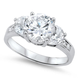 Rings $33.99 3 Stone 2 Carat Cubic Zirconia with Half Moon Stones Past Present Future 25-50 3 stone clear cubic-zirconia cz