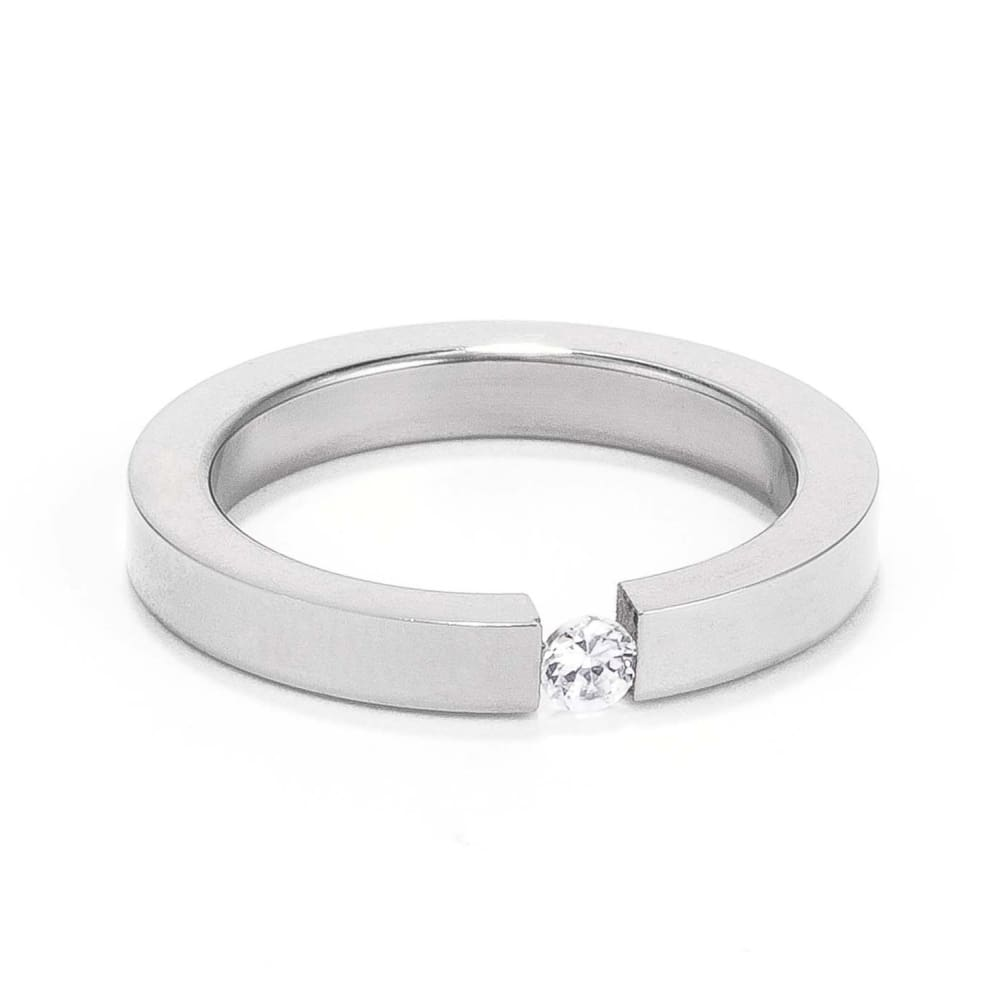 Rings $22.90 3Mm Stainless Steel Floating Set Cubic Zirconia Solitaire Ring 3Mm Band Cz Mens Steel