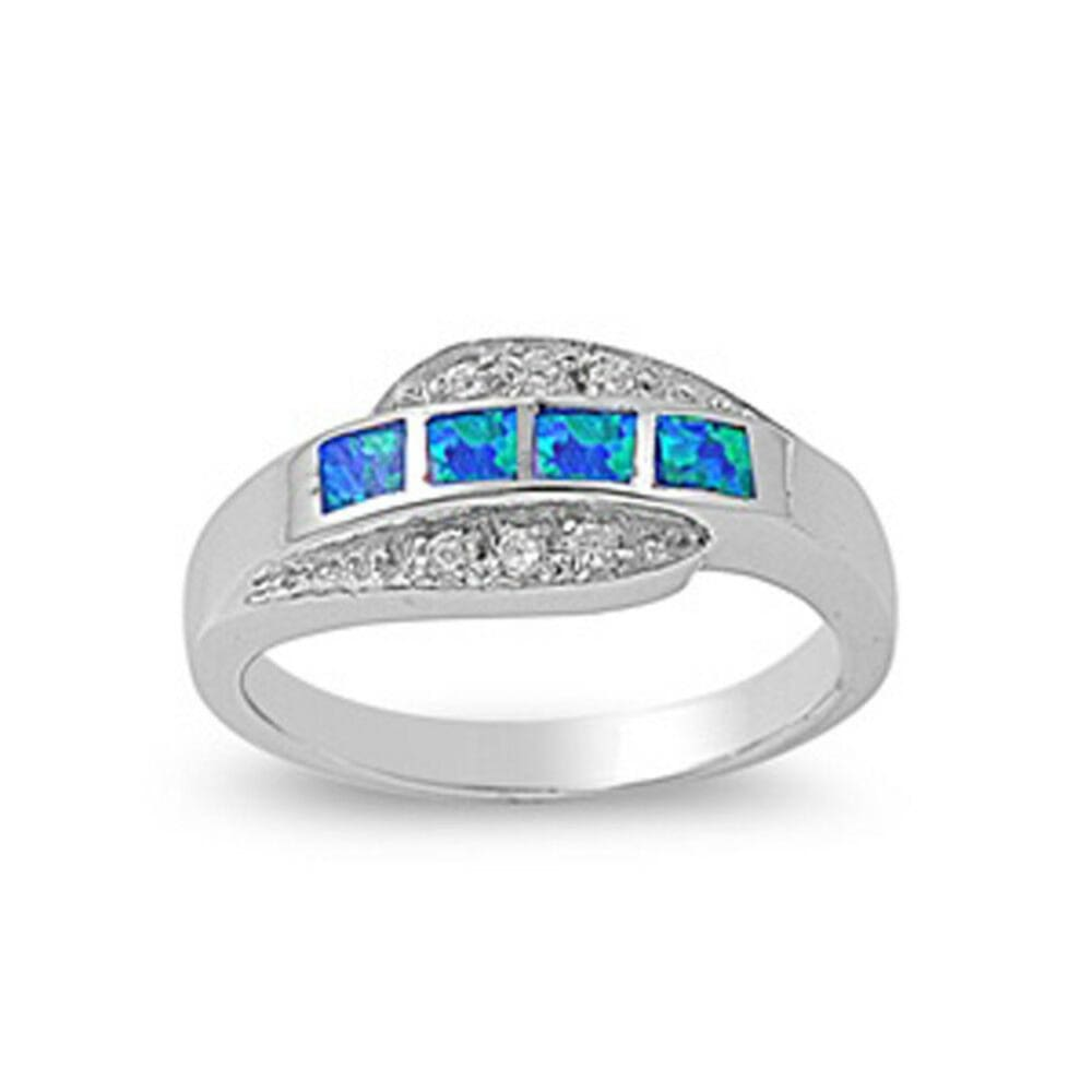 Rings $41.99 4 Princess Cut Blue Opal and Cubic Zirconia Sterling Silver Ring blue clear cz opal