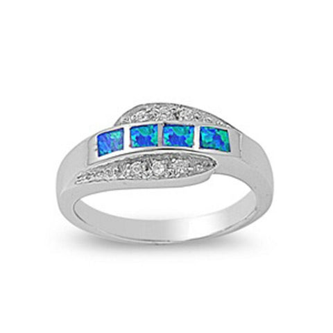 Image of Rings $41.99 4 Princess Cut Blue Opal and Cubic Zirconia Sterling Silver Ring blue clear cz opal