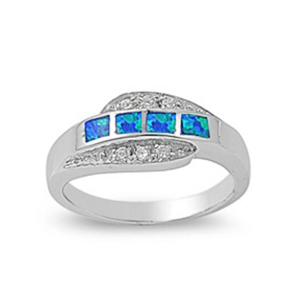Rings $41.99 4 Princess Cut Blue Opal and Cubic Zirconia Sterling Silver Ring 25-50 badge-toprated blue clear cubic-zirconia