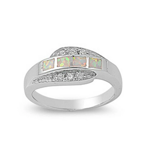 Image of Rings $41.99 4 Princess Cut White Opal and Cubic Zirconia Sterling Silver Ring 25-50 badge-toprated clear cubic-zirconia cz