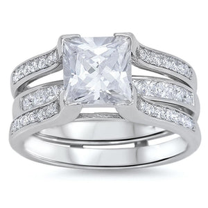 5 Carat Princess Cut Engagement Ring Guard Bridal Set in Sterling Silver