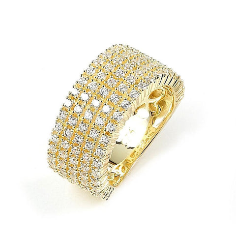 Rings $168.00 5 Rows Of Prong Set Cz Wide Band Ring (14K Yellow Gold) Big Formal Occasion Trending