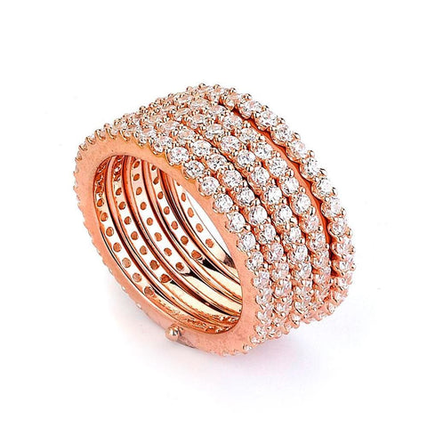 Image of Rings $212.00 5 Stacked Rows Of Cubic Zirconia Eternity Bands Big Trending