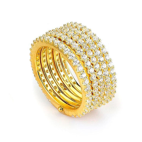 Rings $212.00 5 Stacked Rows Of Cubic Zirconia Eternity Bands Big Trending