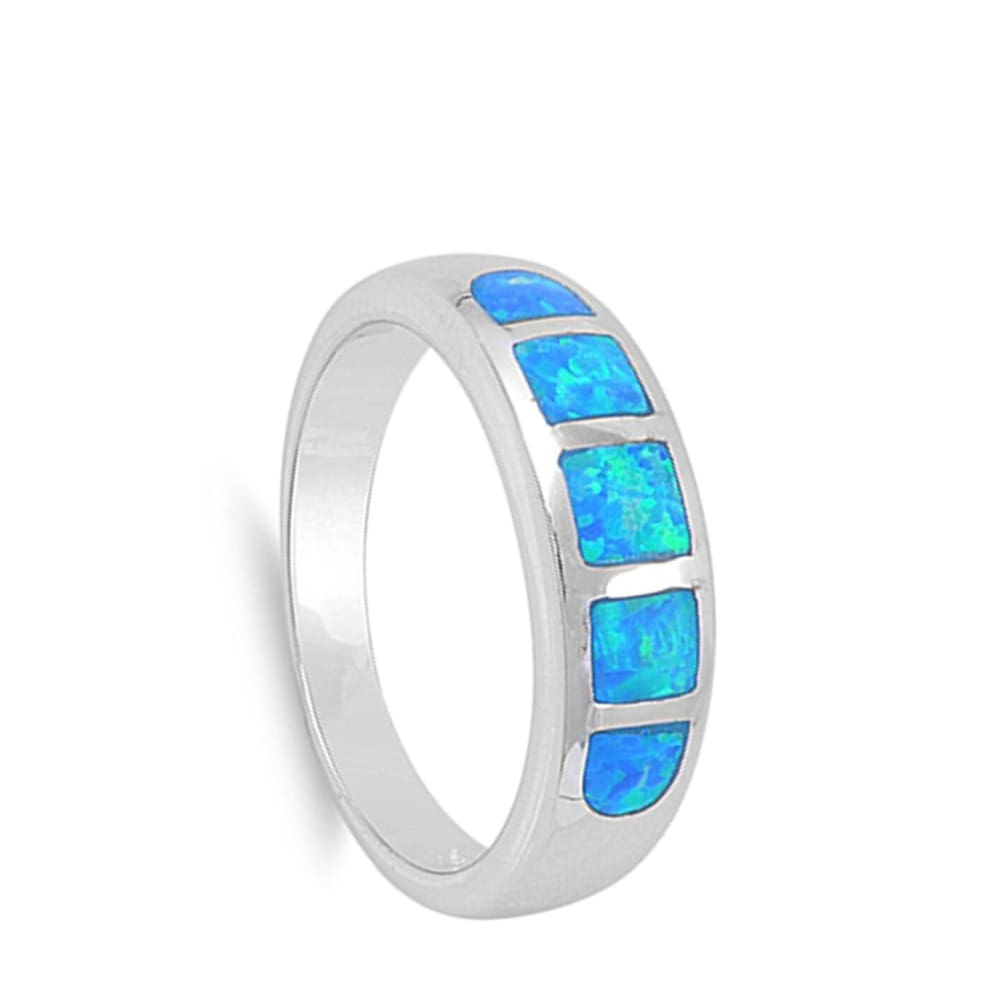 Rings $41.99 5 Stone Blue Opal Inlay Sterling Silver Band band blue opal