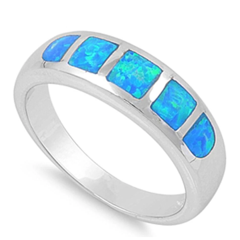 Rings $41.99 5 Stone Blue Opal Inlay Sterling Silver Band 25-50 badge-toprated band blue opal