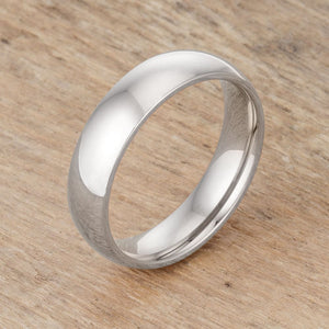 5mm Stainless Wedding Band Rhodium Plated JGI