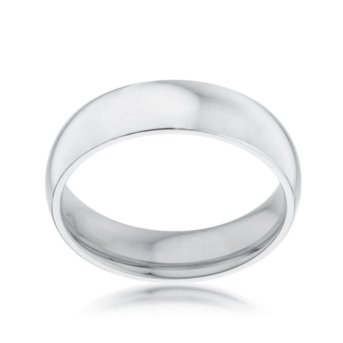 Rings $16.40 5mm Stainless Wedding Band Rhodium Plated JGI 5mm band gold-plated mens plain