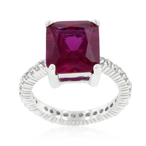 Image of Rings $76.20 6 Carat Pink Radiant Cut Pink Engagement Cubic Zirconia Ring JGI 6 carat BIG cz er pink