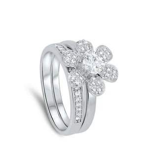 6 Petal Flower with Matching Band Pave Set Rings