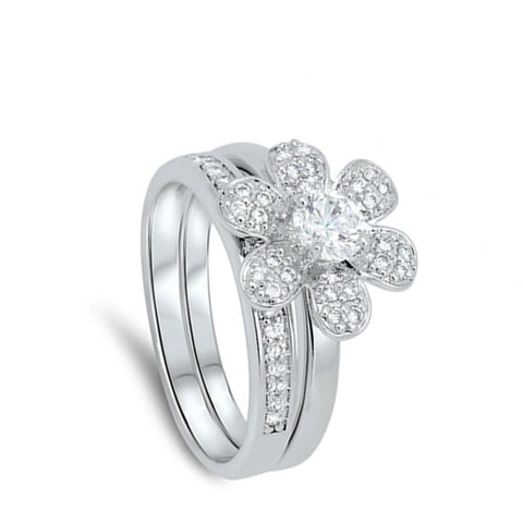 Image of Rings $71.58 6 Petal Flower with Matching Band Pave Set Rings 0.50 Carat clear cz floral round