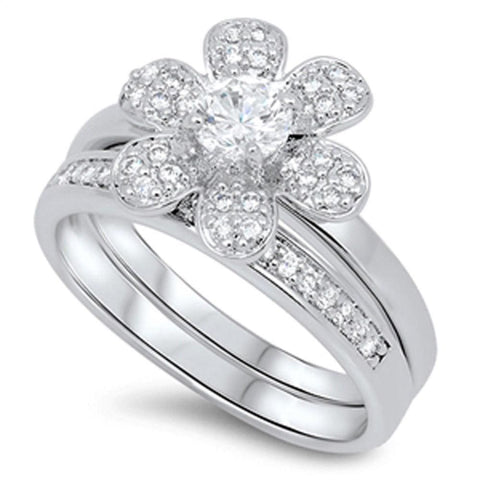 Rings $71.58 6 Petal Flower with Matching Band Pave Set Rings 0.50 Carat clear cz floral round
