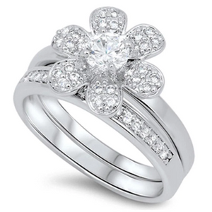 Rings $71.58 6 Petal Flower with Matching Band Pave Set Rings 0.50 Carat 50-100 badge-toprated clear cubic-zirconia
