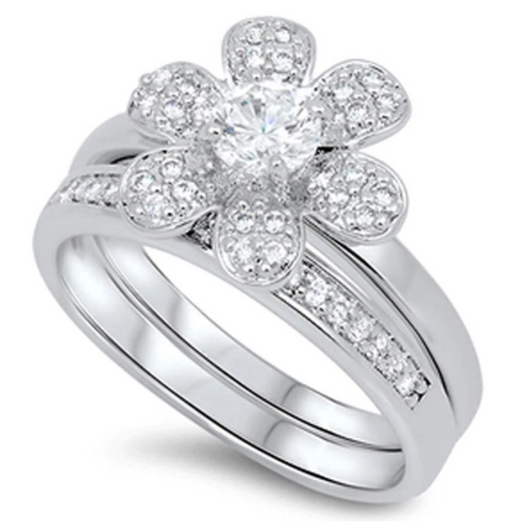 Image of Rings $71.58 6 Petal Flower with Matching Band Pave Set Rings 0.50 Carat 50-100 badge-toprated clear cubic-zirconia